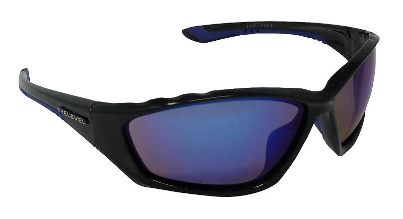 Bullet Sports Sunglasses Blue Mirror Cat-3 UV400 Shatterproof Lenses