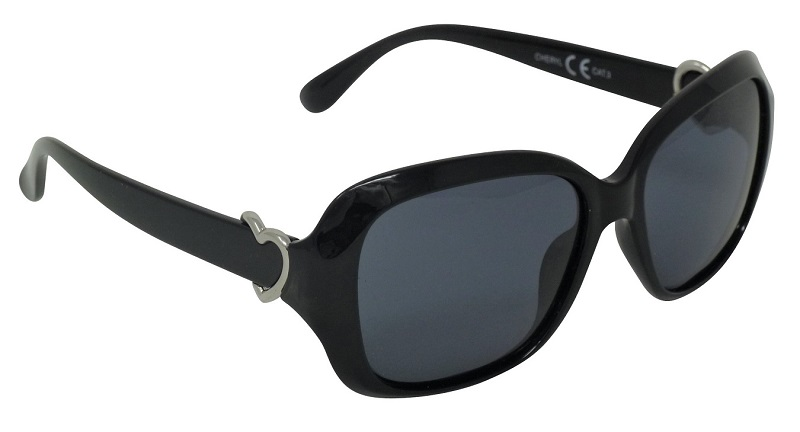 Cheryl Black Sunglasses Polarized Grey Cat-3 UV400 Lenses