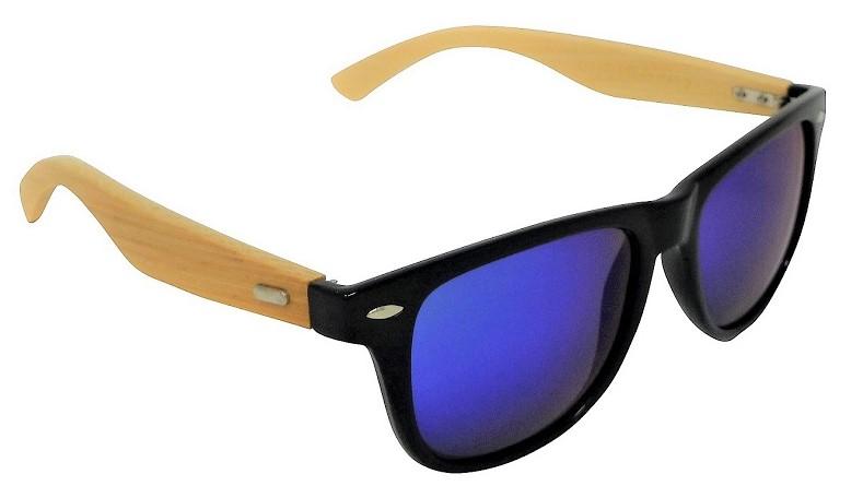 Echo Bamboo Sunglasses Polarized Turquoise Blue Mirror Cat-3 UV400 Lenses