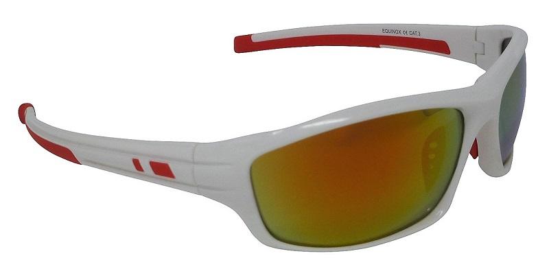 Equinox White Sports Sunglasses Red Mirror Cat-3 UV400 Shatterproof Lenses