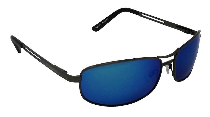 Modena Pilot Style Metal Sunglasses Polarized Blue Mirror Cat 3 UV400 Lenses