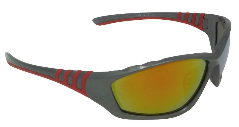 Armour Sports Sunglasses Red Mirror Cat-3 UV400 Shatterproof Lenses