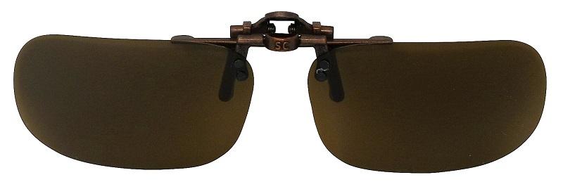 Clip-On USA-3 Polarized Sunglasses Brown Cat-2 UV400 Lenses