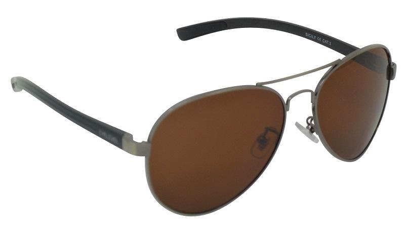 Sicily Pilot Sunglasses Polarized Brown Cat-3 UV400 Lenses