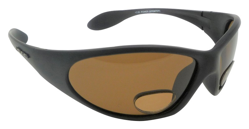 PowerSprinter Sunglasses Polarized Brown UV400 Lenses with Bifocal+2.00 Insets