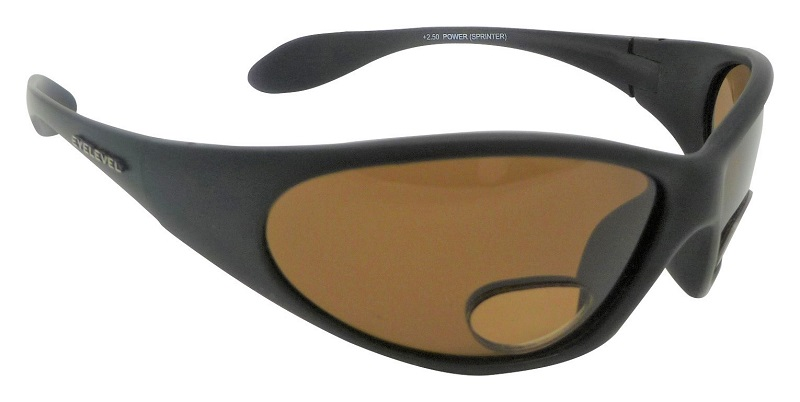 PowerSprinter Sunglasses Polarized Brown UV400 Lenses with Bifocal+2.50 Insets