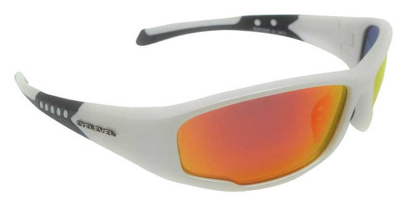 Quayside White Sports Sunglasses Polarized Red Mirror Cat 3 UV400 Lenses