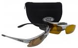 Challenger Silver Frame Sunglasses Set of 3 Polarized Interchangeable UV400 Lenses